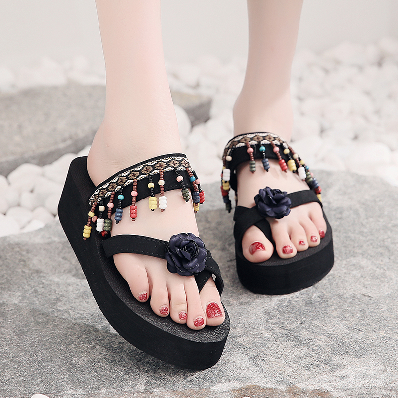 WENYUJH 2019 New Women Mid-Heel Sandals For Ethnic Style Retro Bohemian Comfortable Beach Slope Anti-Skid Flip Flops Plus SizeWENYUJH 2019 New Women Mid-Heel Sandals For Ethnic Style Retro Bohemian Comfortable Beach Slope Anti-Skid Flip Flops Plus Size
