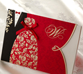 (10 pieces/lot) New Classic Bride And Groom Wedding Invitation Cards Red And Black Chinese Style Wedding Invitation Cards CW1051