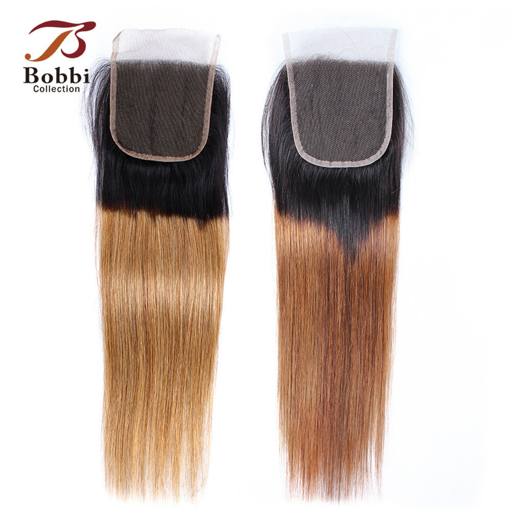 Bobbi Collection T 1B 27 Lace Closure Ombre Honey Blonde Closure Brazilian Straight Remy Human Hair Free Part Middle Part