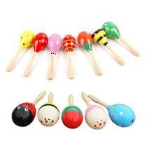 20 teile/los 12 cm Bunte Kinder Holz Ball Rassel Spielzeug Sand Hammer Rassel Lernen Musical Instrument Percussion für Baby Kinder spielzeug