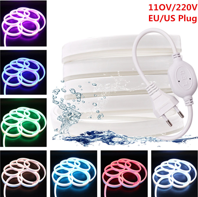 220V 110V LED Strip RGB Neon Flex Rope Light Waterproof IP68 LED Tape  TV Dimmer Flexible Ribbon For Decorative Outdoor Lighting