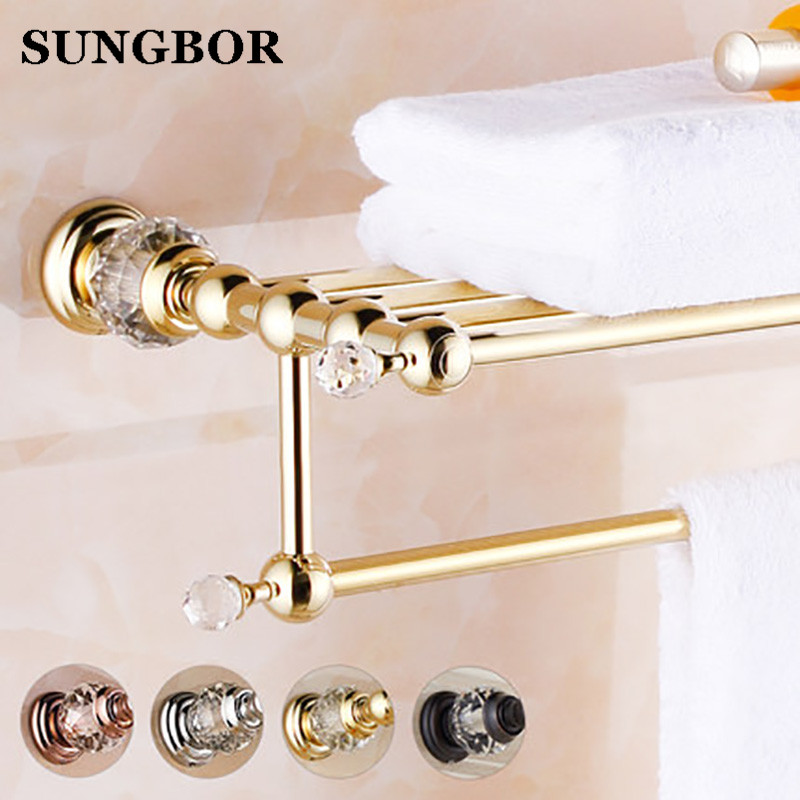 цена на Free Shipping Wall Mounted Bath Towel Rack Bathroom Accessories Products Crystal&Golden Towel Bar Towel Holder Product SH-99912K