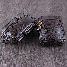 BISI GORO Wear belt pocket phone coin waist bag Vintage cow leather Multi-function men pack Wear-resistant outdoor purse