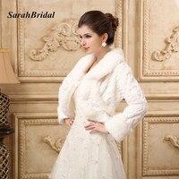 Düğün Aksesuarları Yüksek Kalite Faux Kürk Bolero Uzun Kollu Beyaz Düğün Ceketler Kış Sıcak Mont Gelin Bolero Kadın 17019