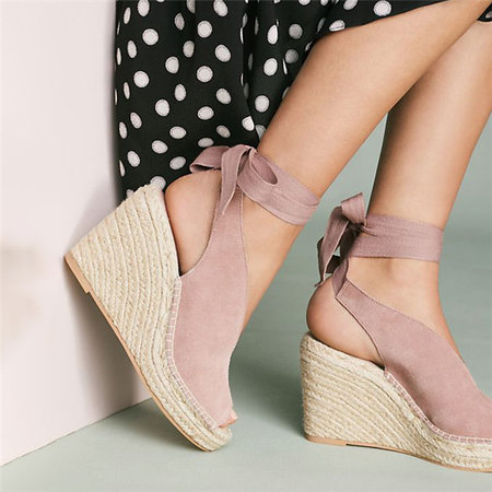 PINK Suede Leather Women Sandals Wedges High Heels Peep Toe Pumps Lace Up Platform Shoes