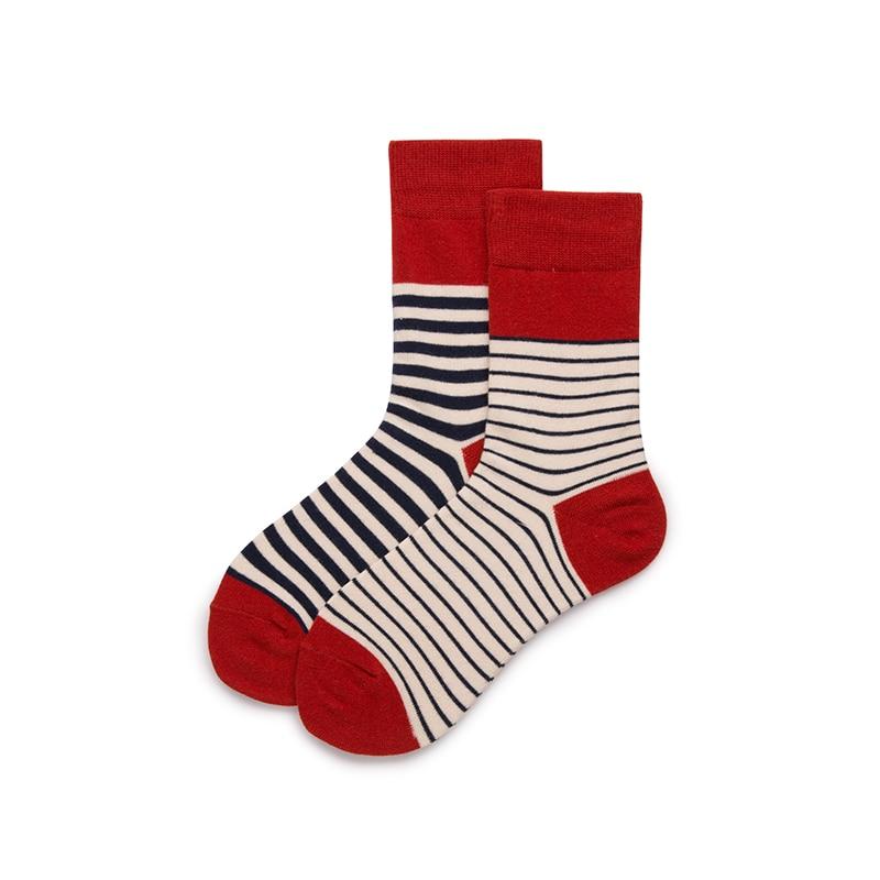 Hot Colorful Red Striped Asymmetric Socks Funny Men Women Socks Cotton Crew Lovers Socks Cartoon Casual Colorful