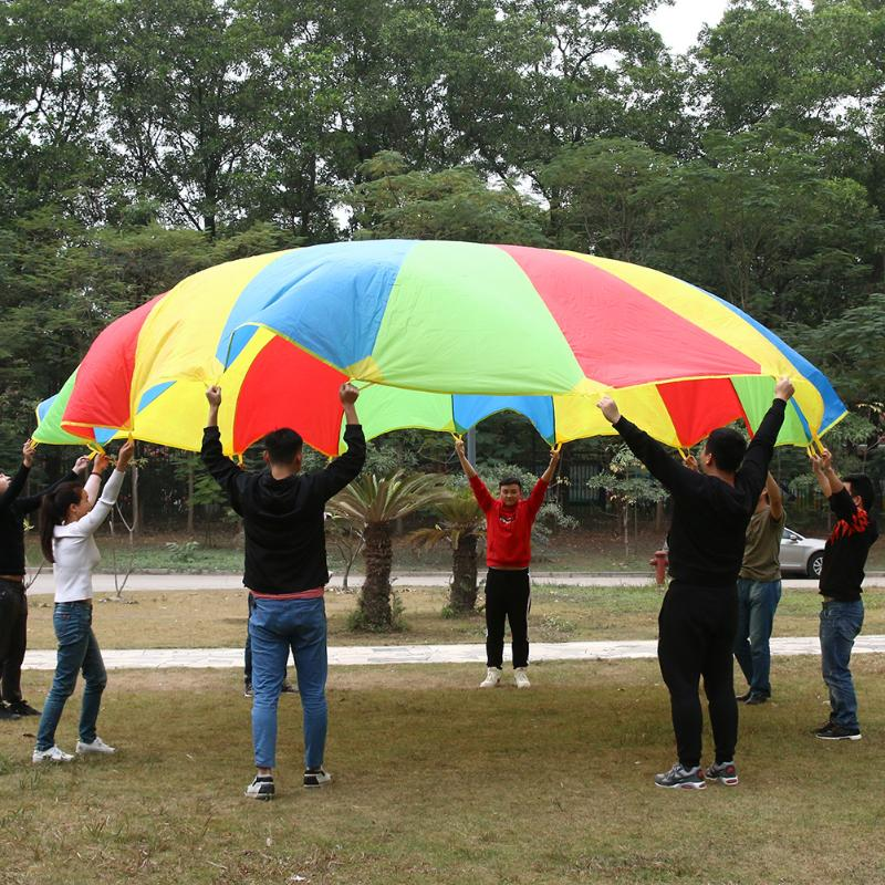 Dia 6m Big Size Outdoor Development Sport Rainbow Parachute Umbrella Toy Jump-sack Ballute Play Parachute Children Kids Toy dia 84cm chinese handmade red plum blossom oil paper umbrella ancient waterproof sunshade parasol decoration gift dance umbrella