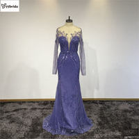 New Sexy Luxury Royal Blue High Neck Lace Backless Celebrity Dresses Beading Floral Prom Dress Long Sleeves Translucent dress