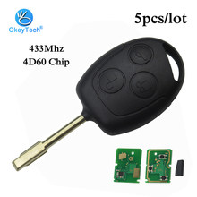 OkeyTech 5pcs/lot Remote Control 3 Button Car Key for Ford Mondeo Mk3 Mk4 Transit Fiesta Festiva 433mhz 4D60 40 Bits Chip FO21(China)