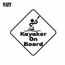 YJZT 14CM * 14CM Kayaker a Bordo Decalque de Vinil Adesivo de Carro Engraçado Preto/Prata C10-00553