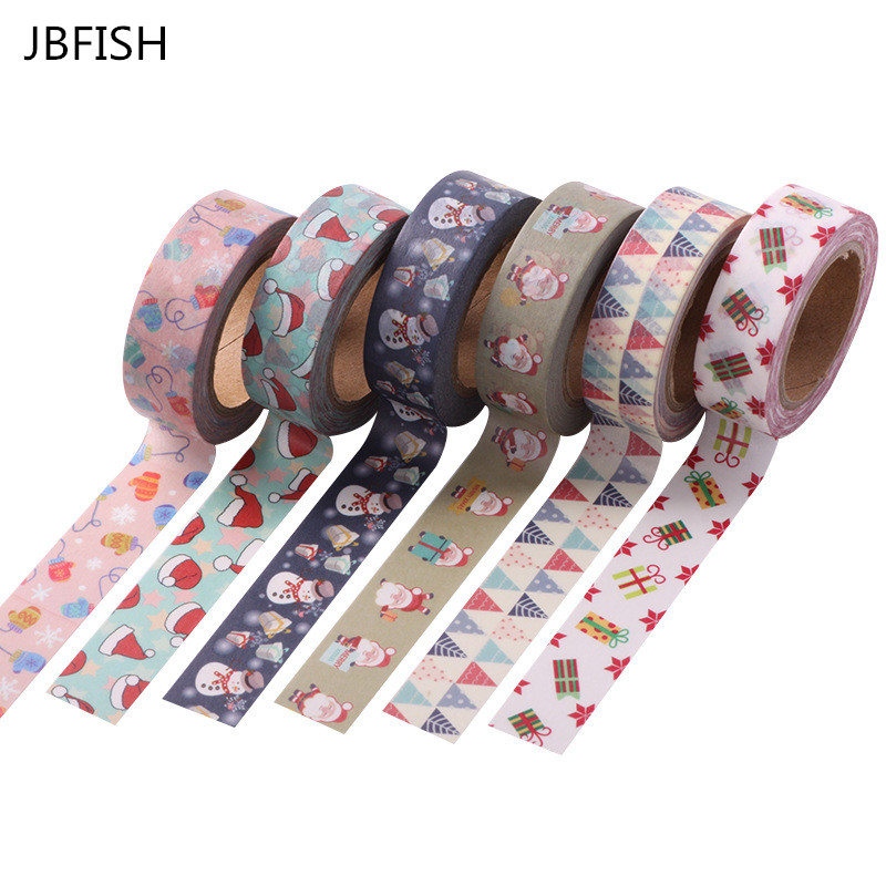 JBFISH 1.5cm x 10m Merry Christmas Deer Washi Paper Masking Tapes Decorative Tape Scrapbooking Stickers Diary Decals 2038 цена