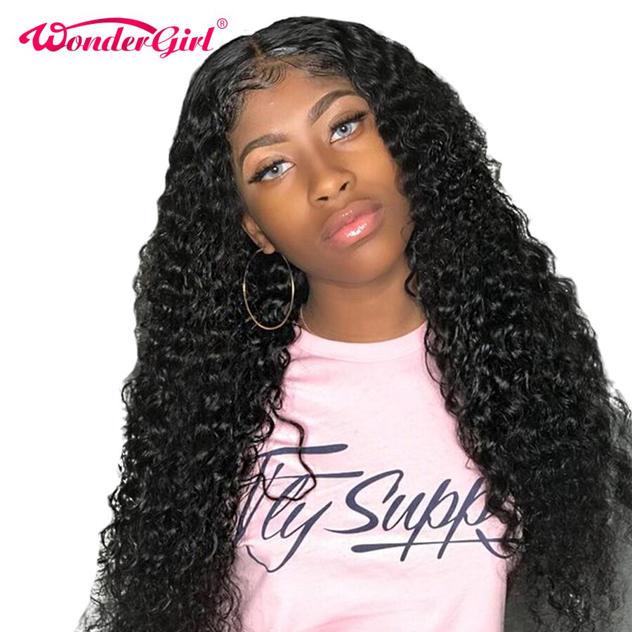 Wonder girl Remy 360 Lace Frontal Wig Pre Plucked With Baby Hair Brazilian Deep Wave Wig
