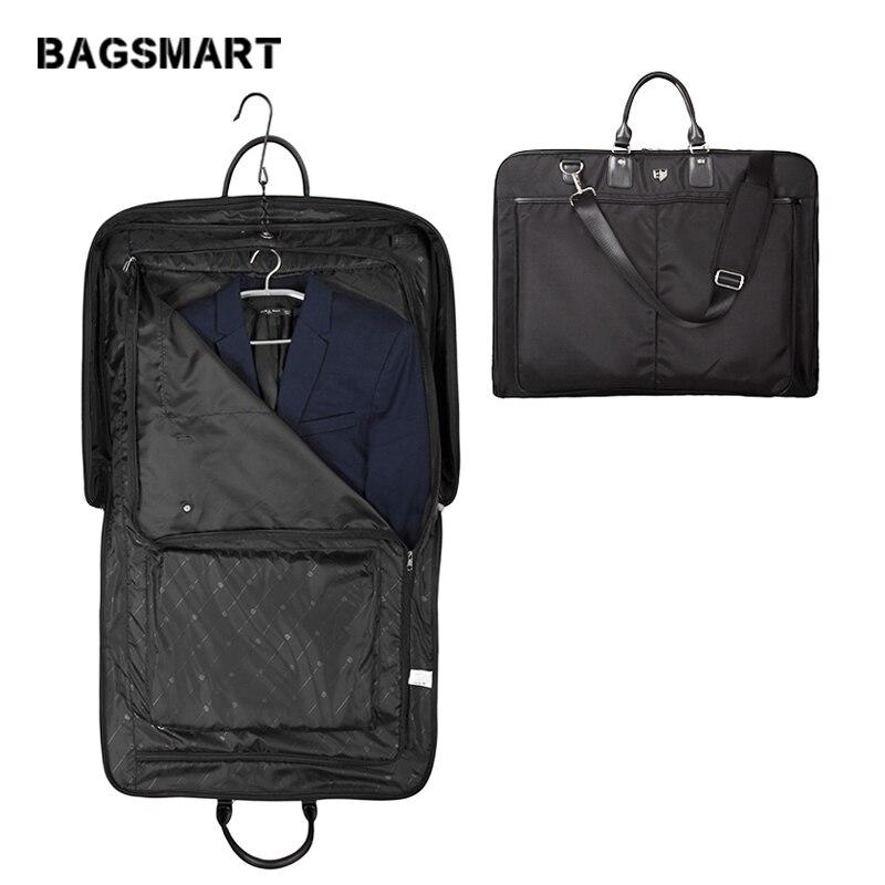 BAGSMART 2018 водостойкая черная нейлоновая Мужская футболка с ручкой легкая сумка для костюма деловые мужские дорожные сумки для костюмов