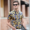 men shirt casual short sleeve High-grade short-sleeved floral shirt Summer New Men's Striped Short Sleeve 95