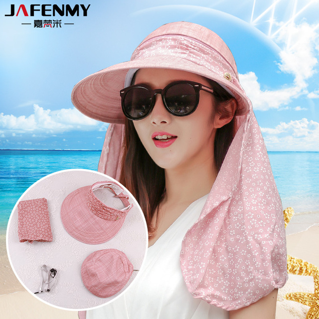 ed969c8257a Sun Hats for women summer sun visor hat with big heads wide brim beach hat  omnibearing UV protection female caps
