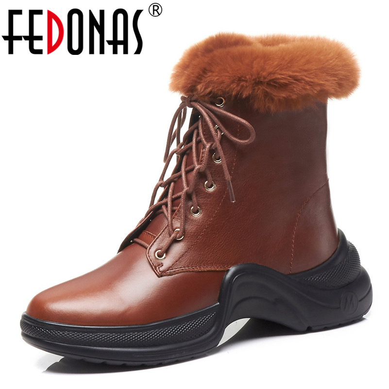 FEDONAS Fashion Women Ankle Boots Platforms Lace Up Winter Snow Shoes Woman Short Warm Cow Leather Martin Boots Female Shoes xgvokh ankle boots women winter warm cow suede leather high quality shoes woman fashion lace up boot short boots height