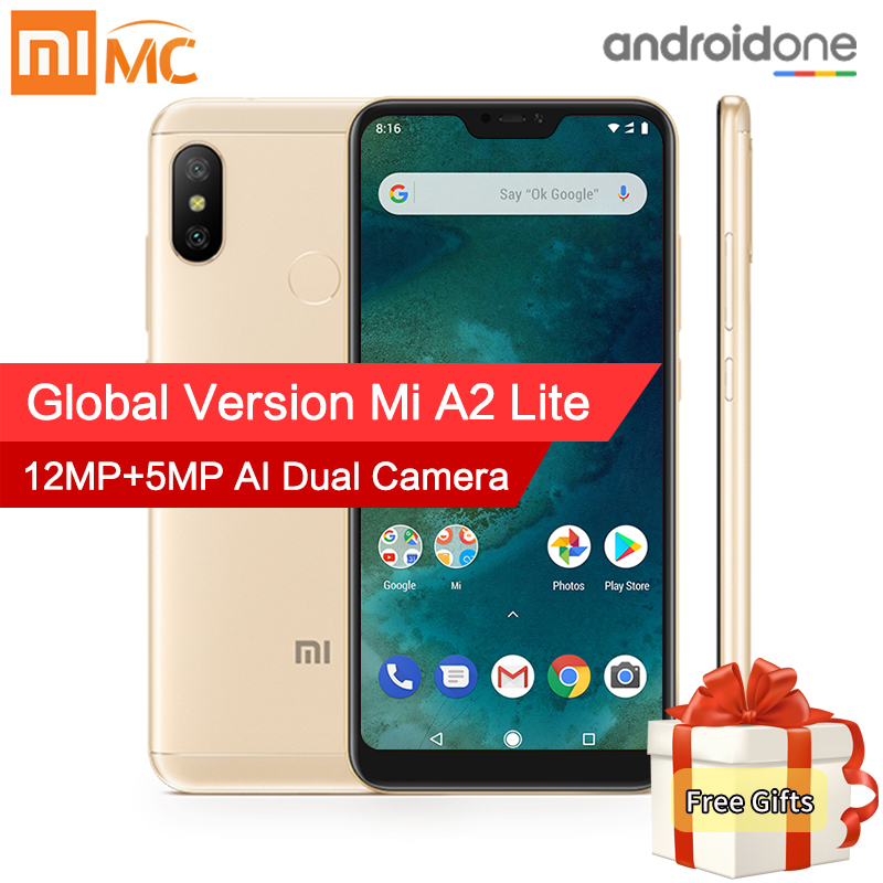 Versão Global Xiao mi mi A2 Lite 4 gb 64 gb Telemóvel Snapdragon 625 Octa Core 5.84 Full tela AI Câmeras Dual Android 8.1 CE