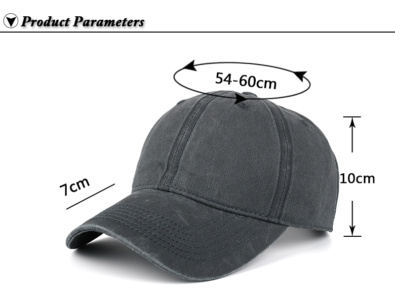 Pre-washed Cotton Denim Baseball Cap - Product Parameters