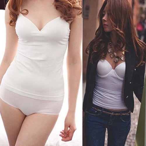 נשים מרופד ספגטי רצועת Camis V צוואר חזיית אפוד Cami גופיות חולצה