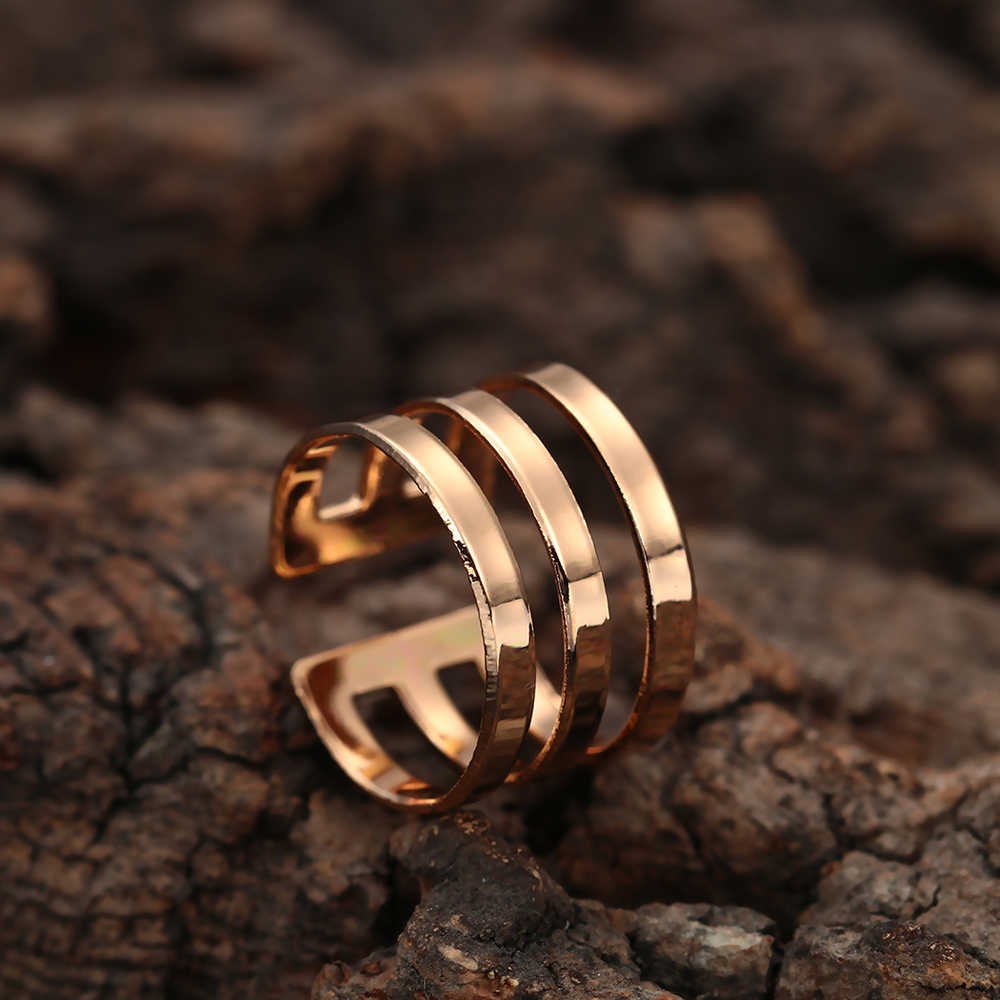 Cxwind Boho Geometric Parallel Three Lines Ring for Women Wedding Cute Knuckle Circle Round Cuff Finger Rings Band Jewelry Gifts