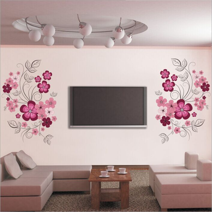 Free Shipping Removable Vinyl Wall Stickers Flowers Living Room TV/Sofa Background Home Decoration Wall Decals 60*90cm JM7151 1