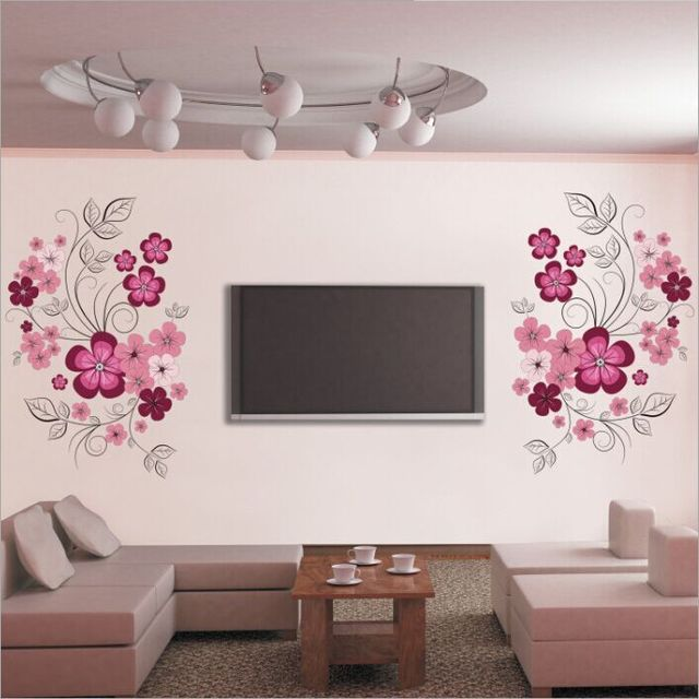 Free shipping removable vinyl wall stickers flowers living room tv sofa background home decoration wall