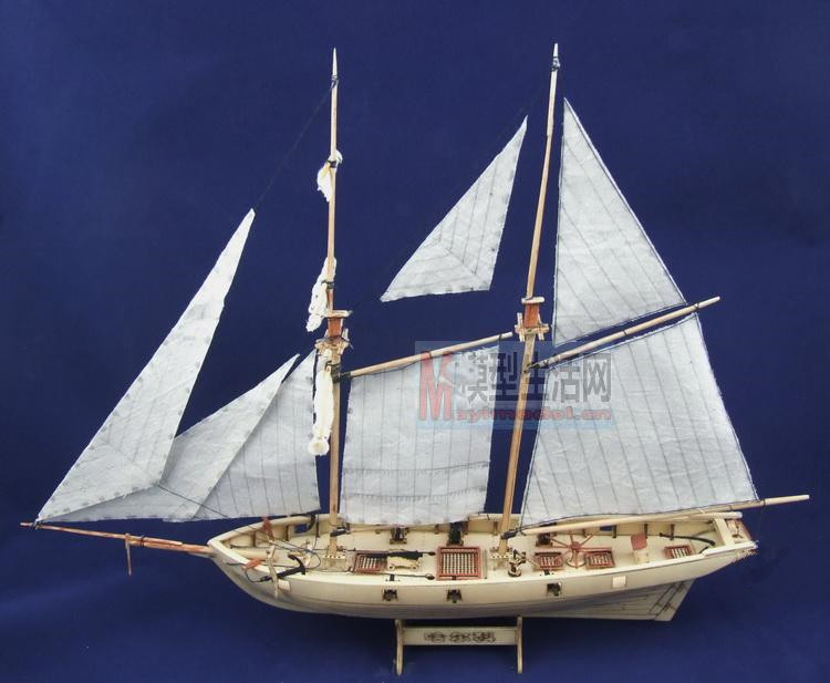 free shipping assembly puzzle model kits classic wooden sailing boat model halcon1840 scale. Black Bedroom Furniture Sets. Home Design Ideas