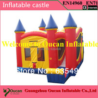 PVC tarpaulin commercial bouncy castle with blower and repair kit