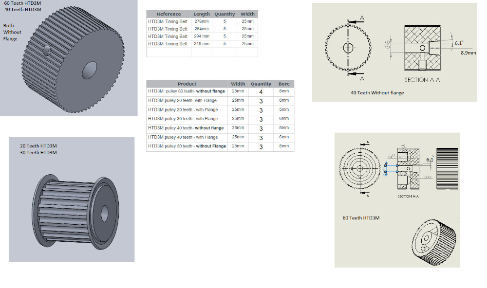 60,40,30,20 teeth HTD3M pulley wheel and closed belt 264,276,294,318 for 25mm width in a pack chambers b a closed and common orbit