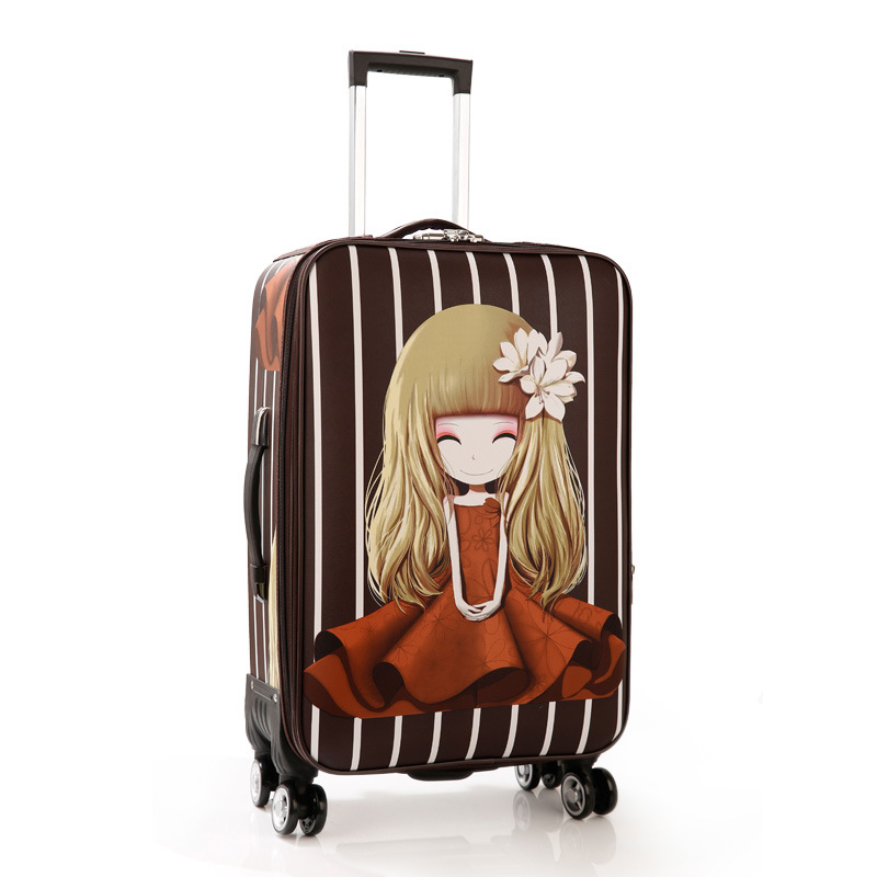 Trolley Wheeled Suitcase Business Large Travel Bag 2024Luggage Bag Womens Love girl Canvas Luggage Rolling student suitcaseTrolley Wheeled Suitcase Business Large Travel Bag 2024Luggage Bag Womens Love girl Canvas Luggage Rolling student suitcase