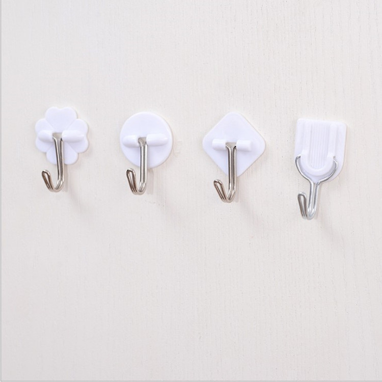 1pc Small Trumpet Hook White Cartoon Plastic Strong Sticky Kitchen Bathroom Accessories  Towel Handbag Holder Wall Hanger