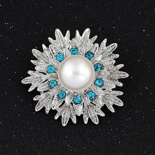 Fashion Luxury Jewelry Silver Plated Crystal Pin Brooches Women