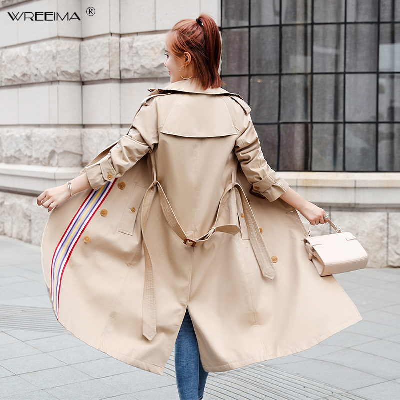 2019 spring Casual Women's   Trench   Coat Fashion Slim Striped Double Breasted Ties medium-long wind-breaker Female Dust Over Coats