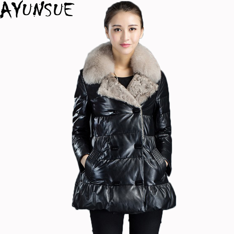AYUNSUE 2019 New Duck Dwon Genuine Leather Jackt Women Long Parka Natural Fox Fur Real Sheepsink