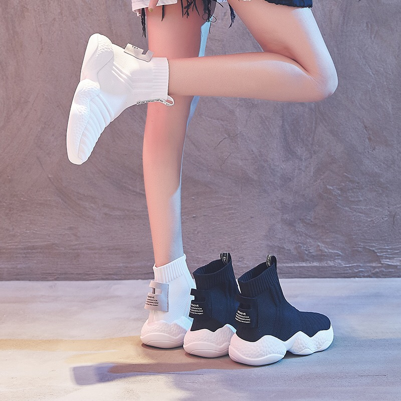 Dumoo Marque Automne Hiver Sneakers Femmes Chaussures À Tricoter Chaussettes Bottes Talon 3 cm Plate-Forme Blanc Chaussures Dame Chaussures zapatos de mujer