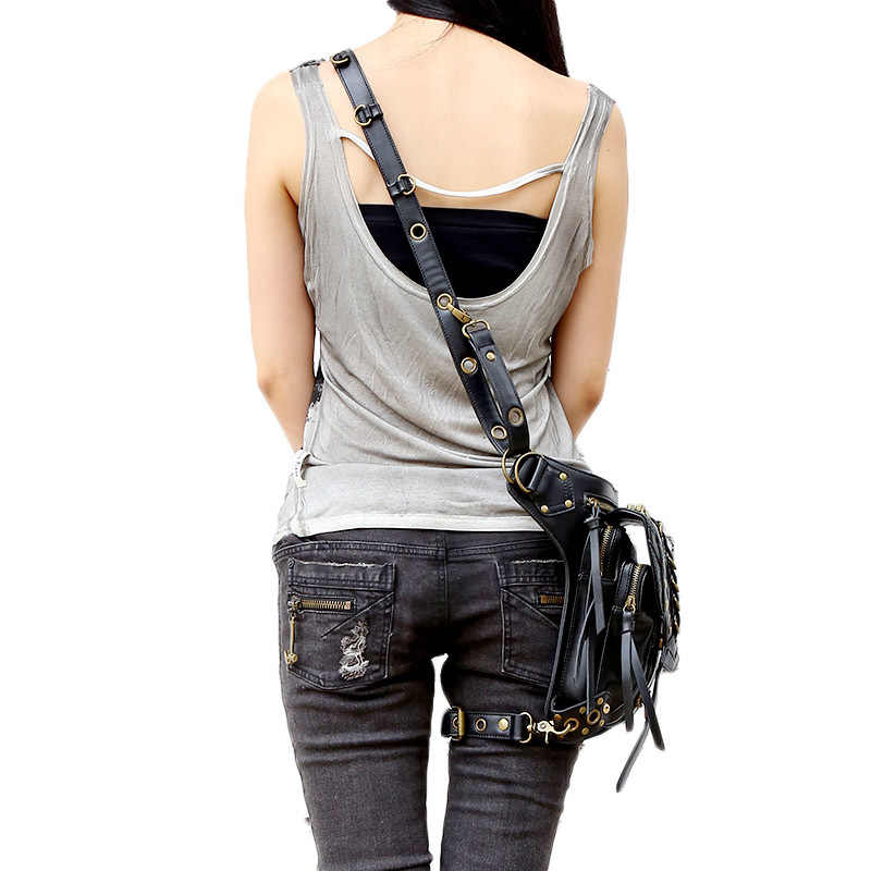 Carteras mujerスチームパンクバッグ太ももモーター脚アウトローパックホルスター保護された財布ショルダーリュック財布puレザー女性のバッグ