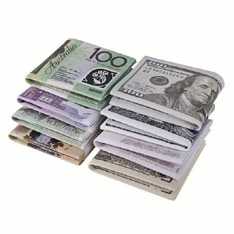2018 New Novel Men Women Pu Leather Paper Dollar Euro Short Wallet Slim Mini Purse 2 Fold Student Cheap Gift Zipper Coin Bag
