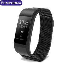 Femperna S18 Смарт-часы артериального давления калорий вызова сообщение напоминание смарт-браслет Миланский ремешок браслет с сердечного ритма