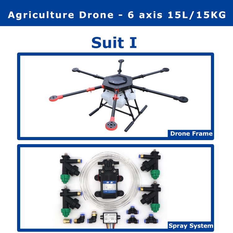 EFT 6 axis 15L/15KG waterproof Agricultural spraying drone flight platform 1550mm wheelbase 15KG sprayer system Folding X8 motor