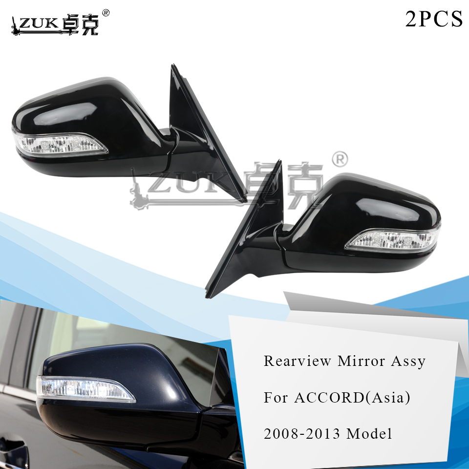 ZUK 2PCS Outer Rearview Mirror Assy For HONDA For ACCORD Aisa 2008 2009 2010 2011 2012