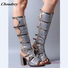 High Heels Peep Toe Knee High Boots Women Pumps Fashion Hollow Women Summer Shoes Sandals Stilettos Zapatos Mujer Sapatos Mulher