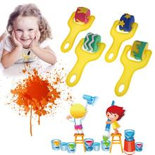 4Pcs Set Kid Art Star Craft Painting Tool Sponge Paint Roller Brush Plastic Handle Set Children