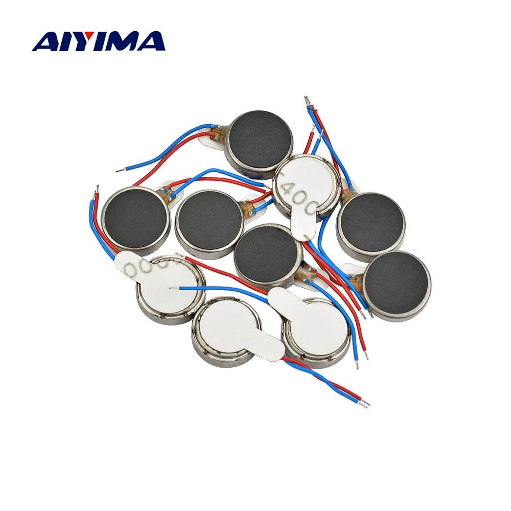 цена на Aiyima 10pcs 1030 Micro DC Vibration Motor 10*30 DC3V 60mA Flat Vibrating Moteur Button Motors For Phone Coin