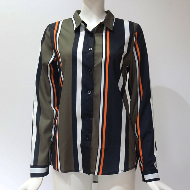 Blouses Women 2020 Leisure Long Sleeve Striped Shirt Turn Down Collar Lady Office Shirt Autumn Blouse Top Blusas Mujer Plus Size 6