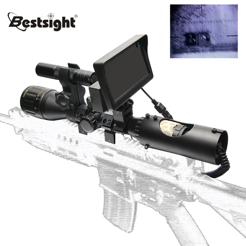 Bestsight Night Vision Riflescope Hunting Optics Night Sights Tactical Digital Infrared with Battery Monitor and Flashlight black color free tempered glass lcd display touch screen digitizer home button front camera assembly for iphone 6s 4 7 inch