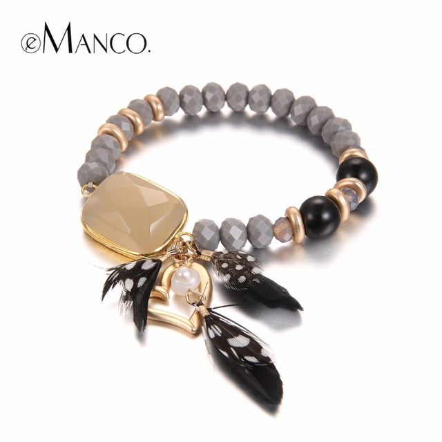 eManco Bohemia Vintage Style Romantic Heart Charms Bracelets for Women Stone Crystal & Feather Bracelet Fashion Jewelry