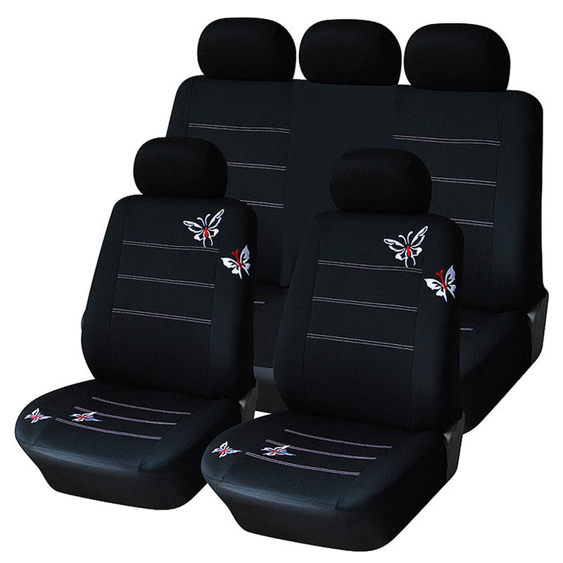 Car-Seat-Cover Seats-Protector Butterfly-Covers Car-Cushion Universal Black Para 9