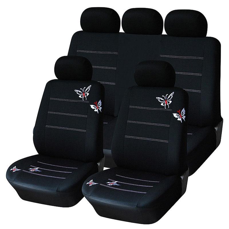 capa para banco de carro cadeirinha para carro assento de carro capa de banco Conjuntos de tampa de assento do carro universal forros de asientos 9 parágrafos preto borboleta capas para assentos almofada protetor