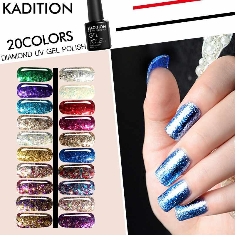 KADITION 2019 nuevo 8 ml diamante brillante profesional 3D brillo Starlight uñas UV Gel esmalte brillo colores Gel uñas polaco
