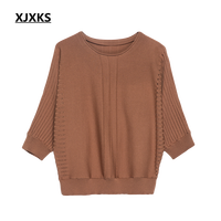 XJXKS Women's Sweater 2018 Spring And Summer Knitted Thin Bat Sleeved Cashmere Sweater and Pullover Loose Large Size Women's Top